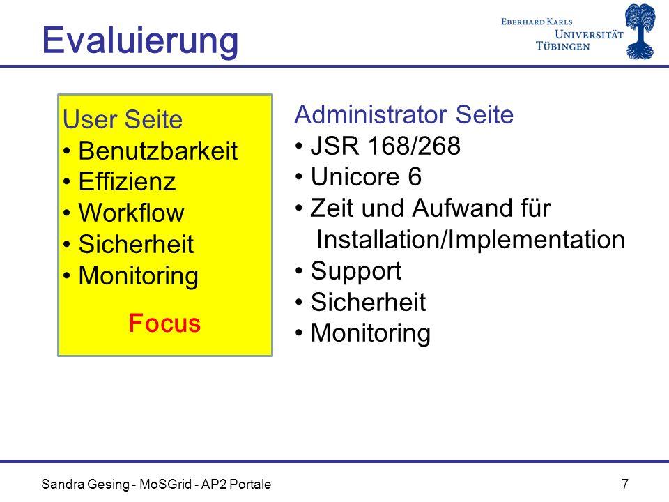 Sandra Gesing - MoSGrid - AP2 Portale 7 Evaluierung Focus User Seite Benutzbarkeit Effizienz Workflow Sicherheit Monitoring Administrator Seite JSR 16