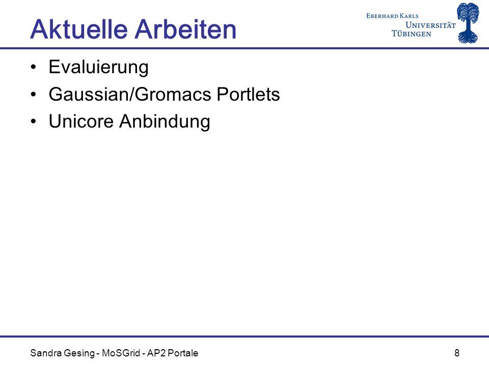 Sandra Gesing - MoSGrid - AP2 Portale 8 Aktuelle Arbeiten Evaluierung Gaussian/Gromacs Portlets Unicore Anbindung