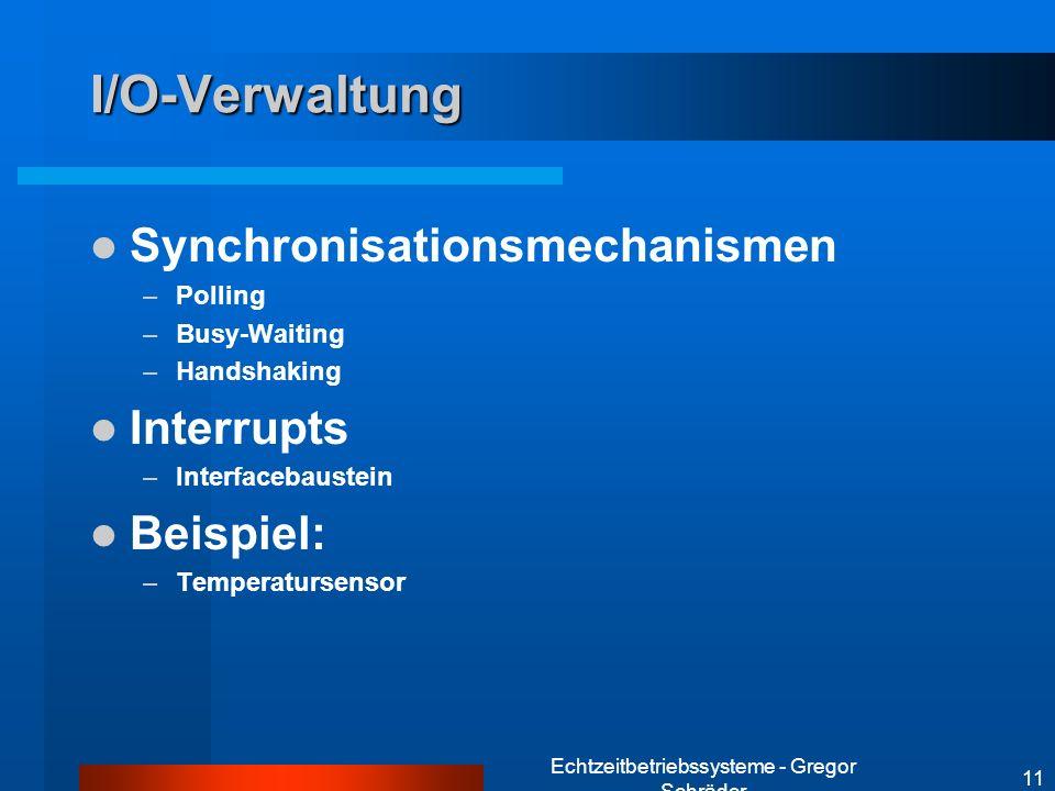 Echtzeitbetriebssysteme - Gregor Schräder 11 I/O-Verwaltung Synchronisationsmechanismen –Polling –Busy-Waiting –Handshaking Interrupts –Interfacebaust