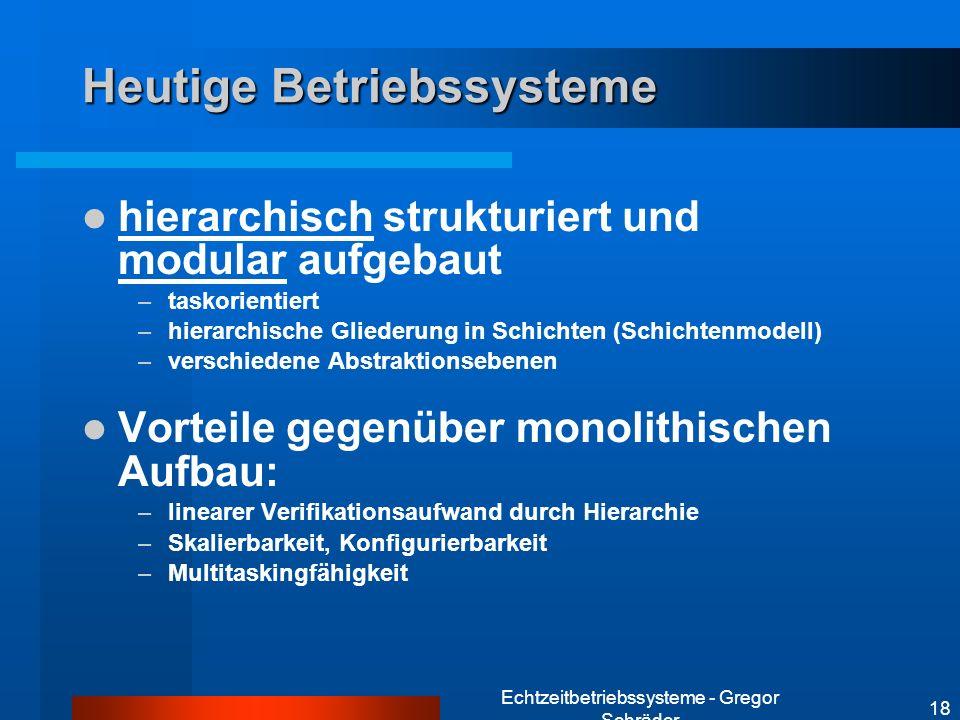 Echtzeitbetriebssysteme - Gregor Schräder 18 Heutige Betriebssysteme hierarchisch strukturiert und modular aufgebaut –taskorientiert –hierarchische Gl