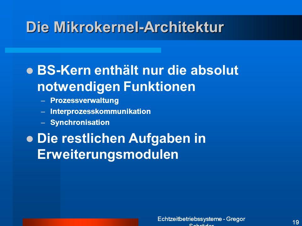 Echtzeitbetriebssysteme - Gregor Schräder 19 Die Mikrokernel-Architektur BS-Kern enthält nur die absolut notwendigen Funktionen –Prozessverwaltung –In