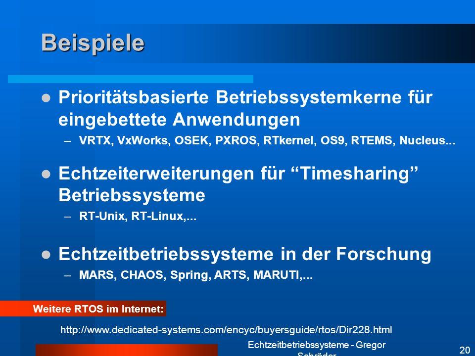 Echtzeitbetriebssysteme - Gregor Schräder 20 Beispiele Weitere RTOS im Internet: Prioritätsbasierte Betriebssystemkerne für eingebettete Anwendungen –