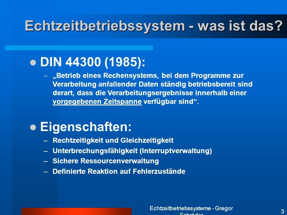 Echtzeitbetriebssysteme - Gregor Schräder 3 Echtzeitbetriebssystem - was ist das? DIN 44300 (1985): –Betrieb eines Rechensystems, bei dem Programme zu