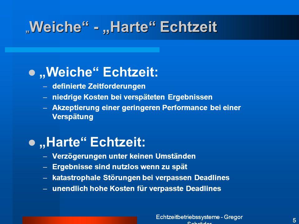 Echtzeitbetriebssysteme - Gregor Schräder 5 Weiche - Harte Echtzeit Weiche - Harte Echtzeit Weiche Echtzeit: –definierte Zeitforderungen –niedrige Kos