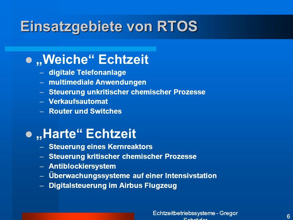 Echtzeitbetriebssysteme - Gregor Schräder 6 Einsatzgebiete von RTOS Weiche Echtzeit –digitale Telefonanlage –multimediale Anwendungen –Steuerung unkri