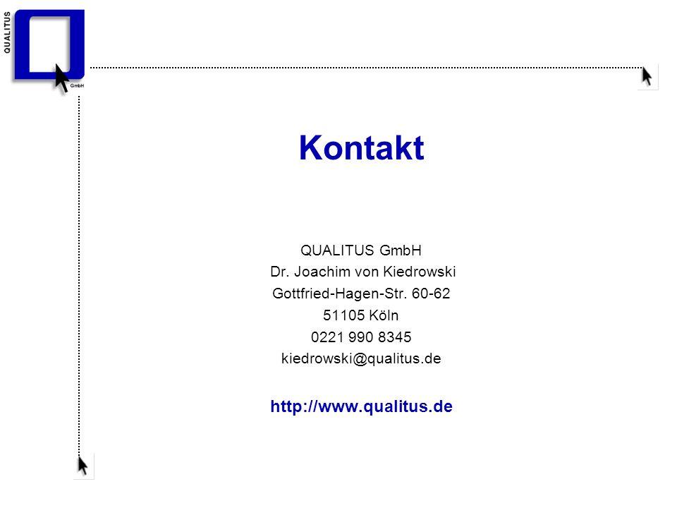 Kontakt QUALITUS GmbH Dr. Joachim von Kiedrowski Gottfried-Hagen-Str.