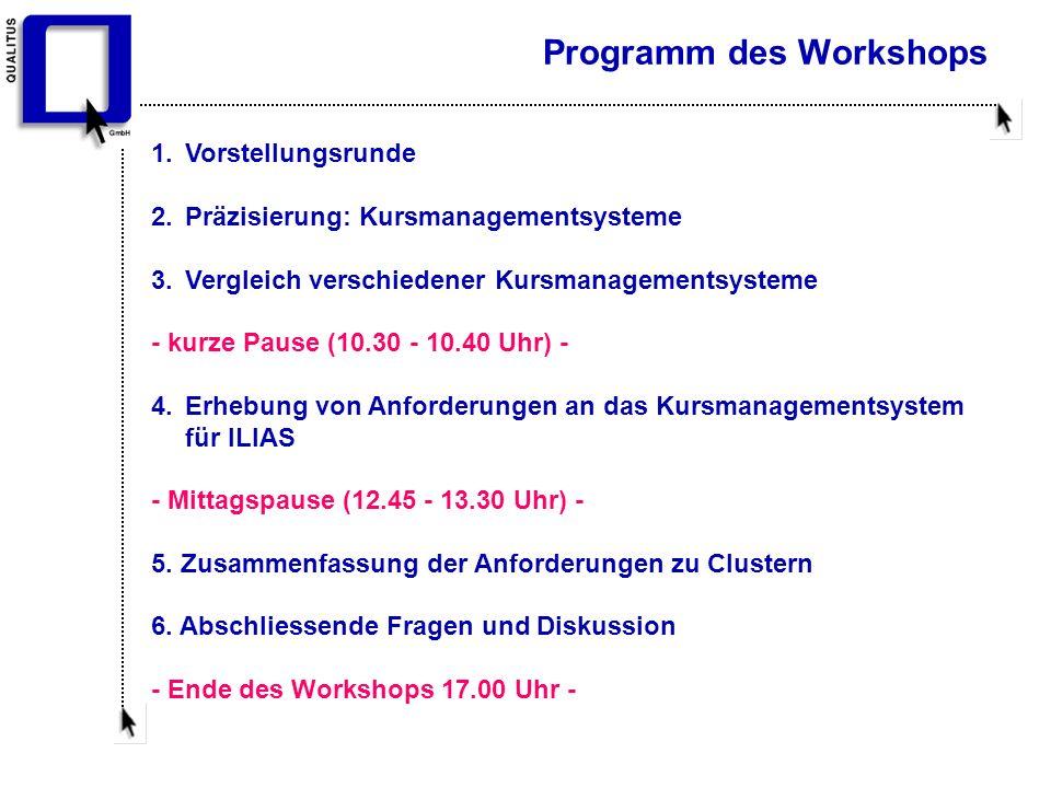 Programm des Workshops 1. Vorstellungsrunde 2. Präzisierung: Kursmanagementsysteme 3.