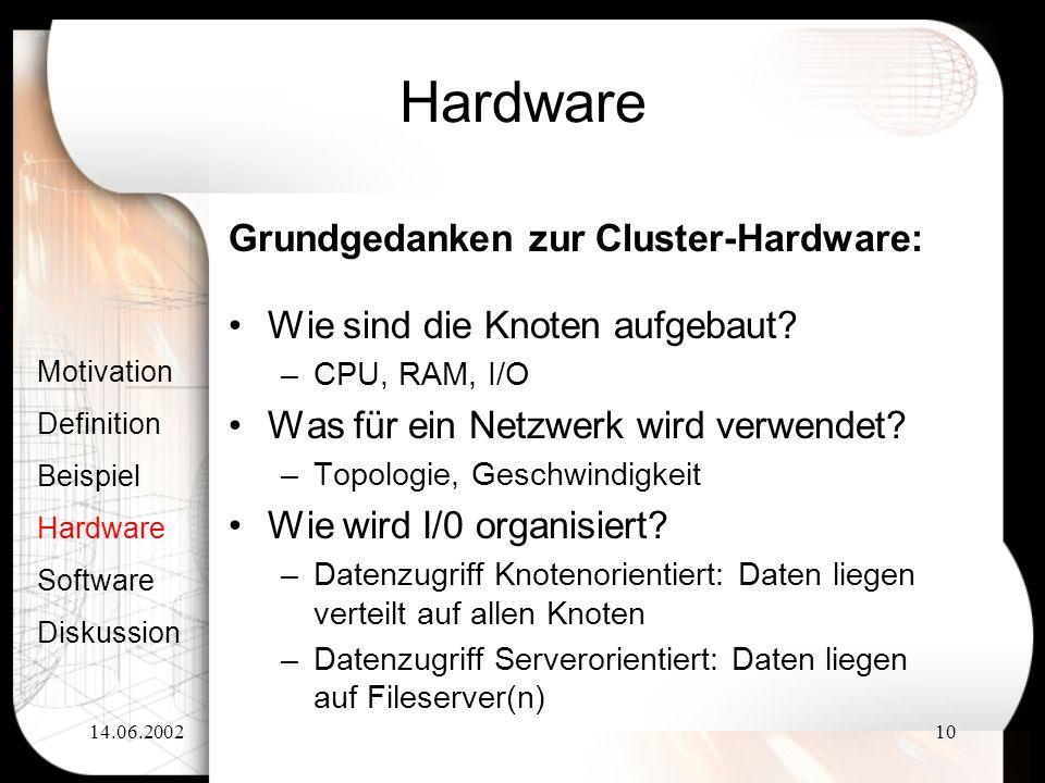 14.06.200210 Hardware Wie sind die Knoten aufgebaut? –CPU, RAM, I/O Was für ein Netzwerk wird verwendet? –Topologie, Geschwindigkeit Wie wird I/0 orga
