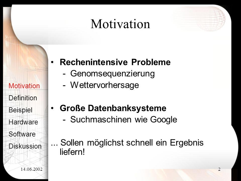 14.06.20022 Motivation Definition Beispiel Hardware Software Diskussion Rechenintensive Probleme -Genomsequenzierung -Wettervorhersage Große Datenbank
