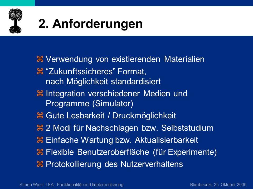 Simon Wiest: LEA - Funktionalität und ImplementierungBlaubeuren, 25. Oktober 2000 2. Anforderungen zVerwendung von existierenden Materialien zZukunfts