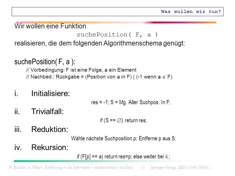W. Küchlin, A. Weber: Einführung in die Informatik – objektorientiert mit Java -2- Springer-Verlag, ISBN 3-540-20958-1 Was wollen wir tun? Wir wollen
