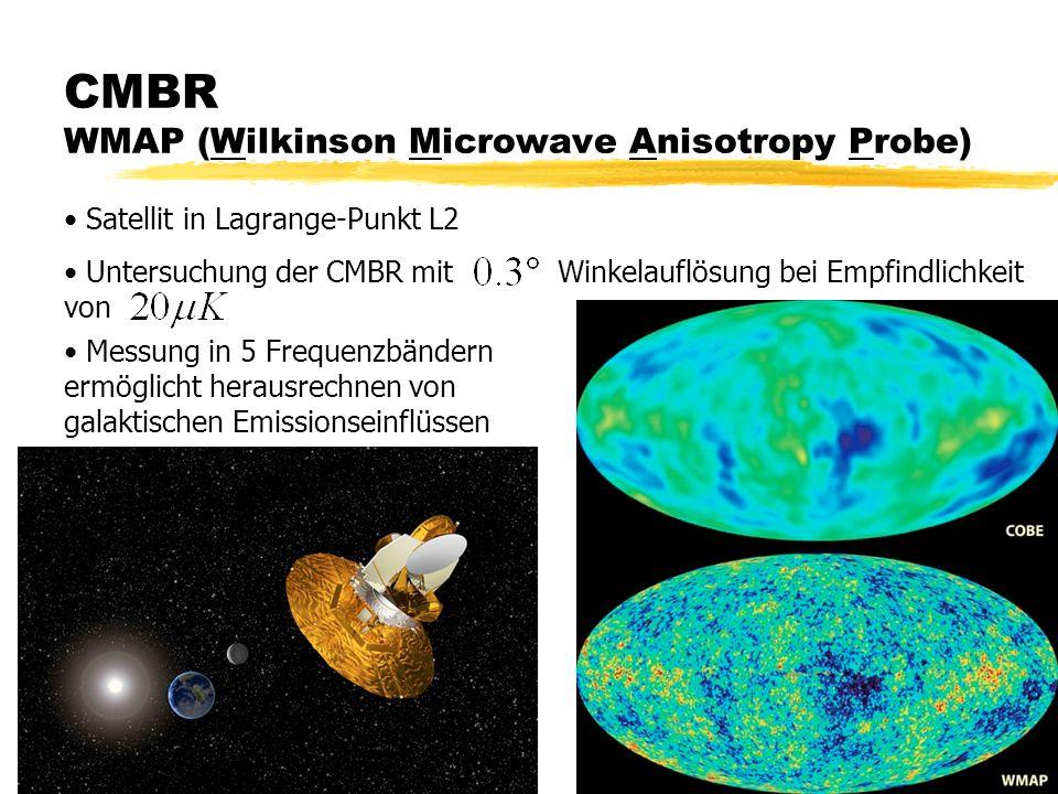 CMBR WMAP (Wilkinson Microwave Anisotropy Probe) Satellit in Lagrange-Punkt L2 Untersuchung der CMBR mit Winkelauflösung bei Empfindlichkeit Messung in 5 Frequenzbändern ermöglicht herausrechnen von galaktischen Emissionseinflüssen von