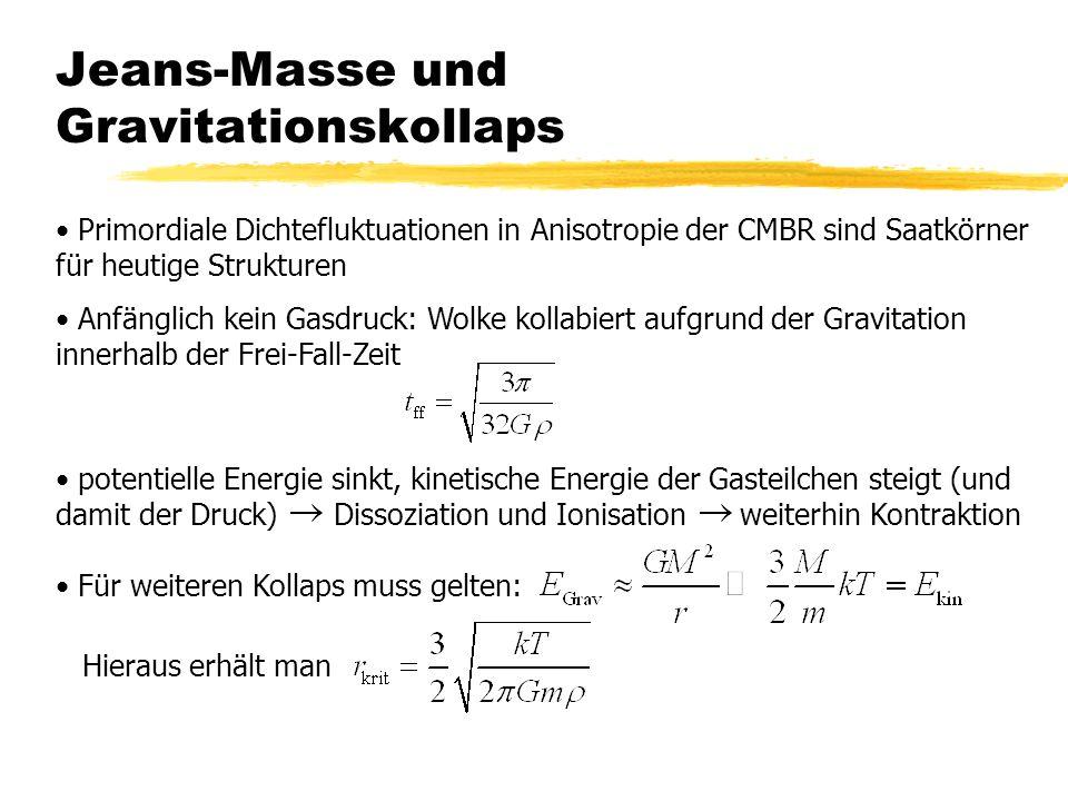 Jeans-Masse und Gravitationskollaps Primordiale Dichtefluktuationen in Anisotropie der CMBR sind Saatkörner für heutige Strukturen Anfänglich kein Gasdruck: Wolke kollabiert aufgrund der Gravitation innerhalb der Frei-Fall-Zeit potentielle Energie sinkt, kinetische Energie der Gasteilchen steigt (und damit der Druck) Dissoziation und Ionisation weiterhin Kontraktion Für weiteren Kollaps muss gelten: Hieraus erhält man