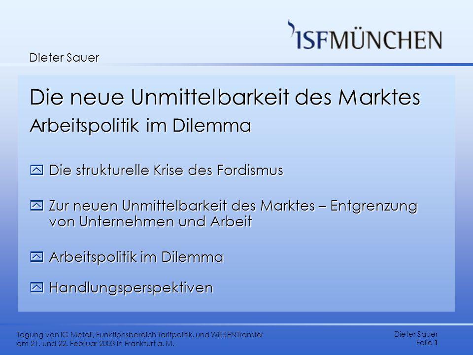 Dieter Sauer Folie 1 Tagung von IG Metall, Funktionsbereich Tarifpolitik, und WISSENTransfer am 21. und 22. Februar 2003 in Frankfurt a. M. Dieter Sau