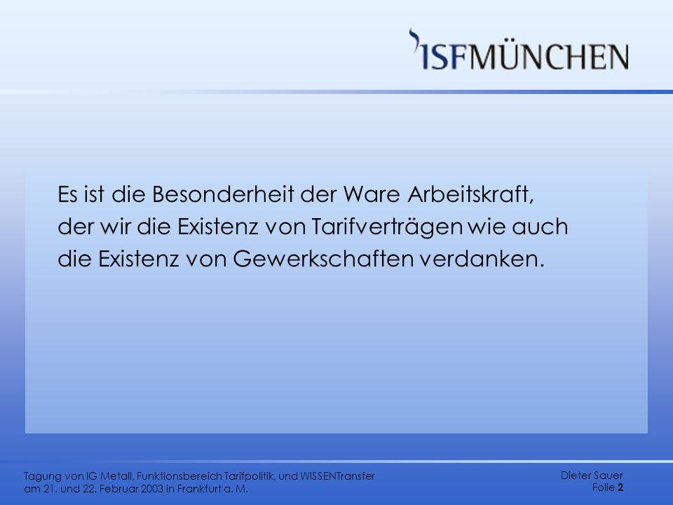 Dieter Sauer Folie 2 Tagung von IG Metall, Funktionsbereich Tarifpolitik, und WISSENTransfer am 21. und 22. Februar 2003 in Frankfurt a. M. Es ist die