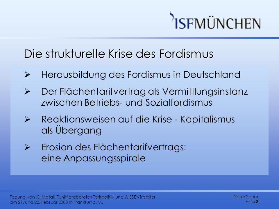 Dieter Sauer Folie 3 Tagung von IG Metall, Funktionsbereich Tarifpolitik, und WISSENTransfer am 21. und 22. Februar 2003 in Frankfurt a. M. Die strukt