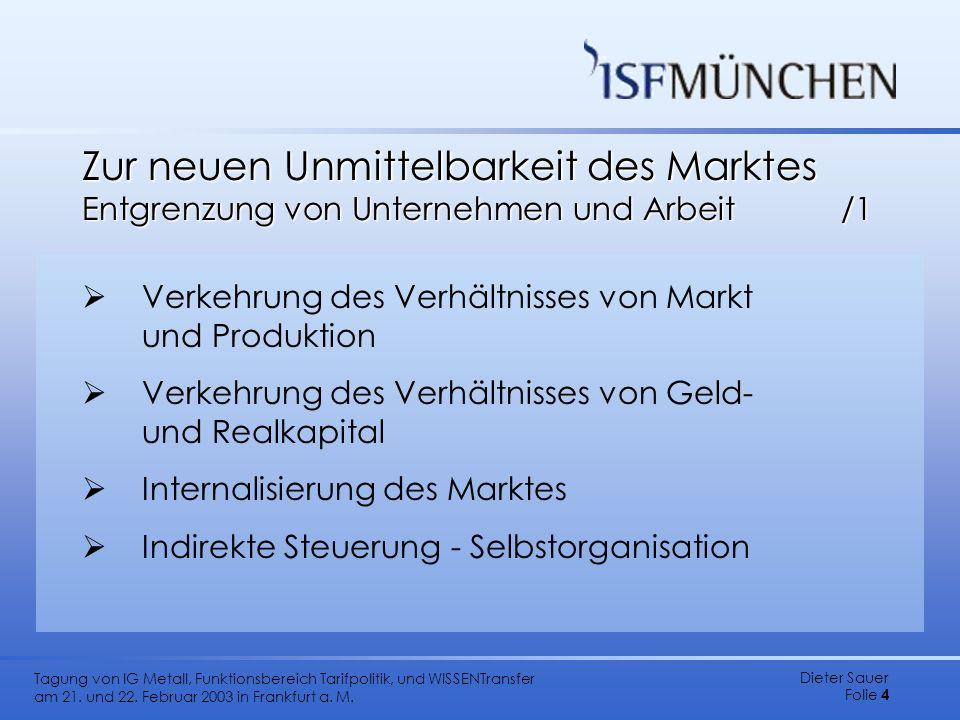 Dieter Sauer Folie 4 Tagung von IG Metall, Funktionsbereich Tarifpolitik, und WISSENTransfer am 21. und 22. Februar 2003 in Frankfurt a. M. Zur neuen