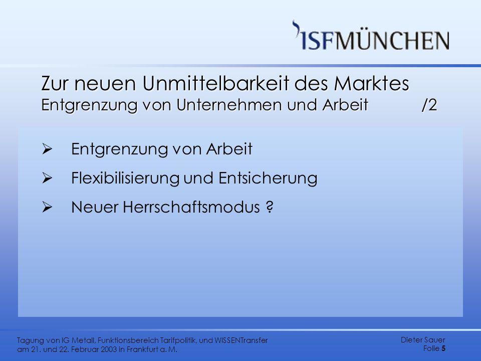 Dieter Sauer Folie 5 Tagung von IG Metall, Funktionsbereich Tarifpolitik, und WISSENTransfer am 21. und 22. Februar 2003 in Frankfurt a. M. Zur neuen
