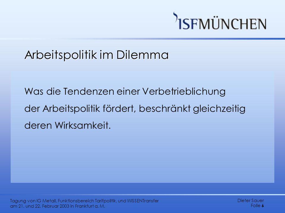 Dieter Sauer Folie 6 Tagung von IG Metall, Funktionsbereich Tarifpolitik, und WISSENTransfer am 21. und 22. Februar 2003 in Frankfurt a. M. Arbeitspol