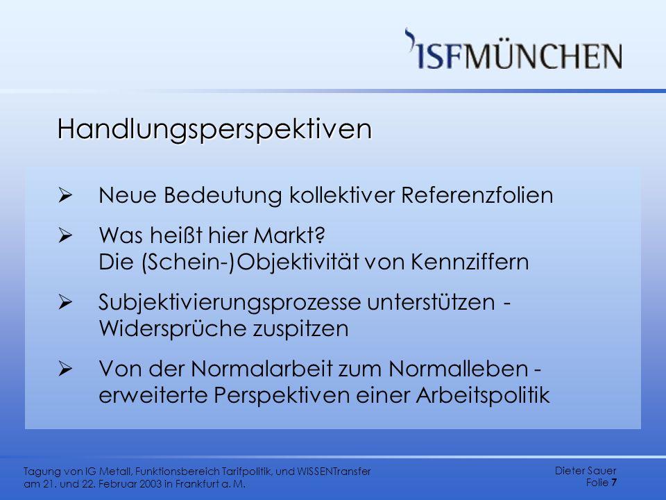 Dieter Sauer Folie 7 Tagung von IG Metall, Funktionsbereich Tarifpolitik, und WISSENTransfer am 21. und 22. Februar 2003 in Frankfurt a. M. Handlungsp