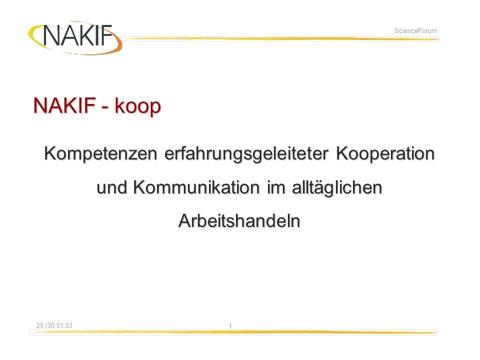 108.01.2014 29./30.01.03 ScienceForum NAKIF - koop Kompetenzen erfahrungsgeleiteter Kooperation und Kommunikation im alltäglichen Arbeitshandeln