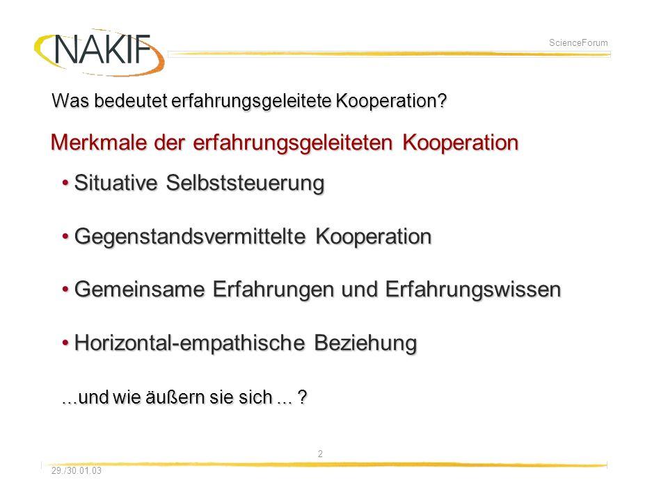 208.01.2014 29./30.01.03 ScienceForum Was bedeutet erfahrungsgeleitete Kooperation? Merkmale der erfahrungsgeleiteten Kooperation Situative Selbststeu