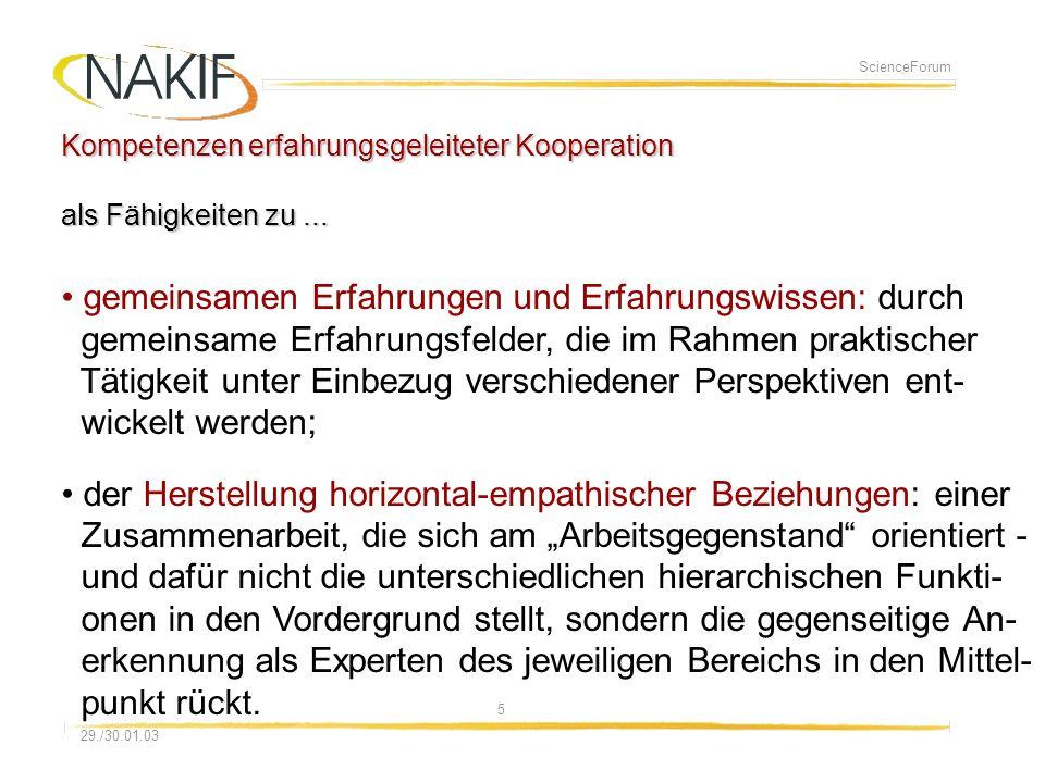 508.01.2014 29./30.01.03 ScienceForum Kompetenzen erfahrungsgeleiteter Kooperation als Fähigkeiten zu...