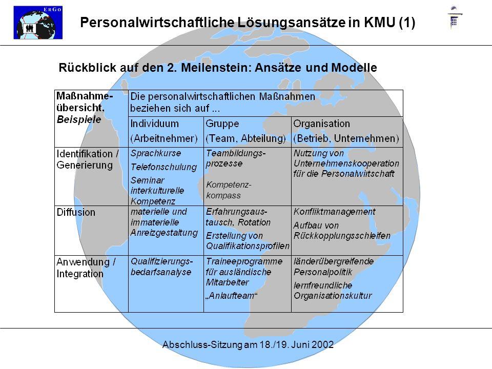 Abschluss-Sitzung am 18./19. Juni 2002 Rückblick auf den 2. Meilenstein: Ansätze und Modelle Kompetenz- kompass Personalwirtschaftliche Lösungsansätze