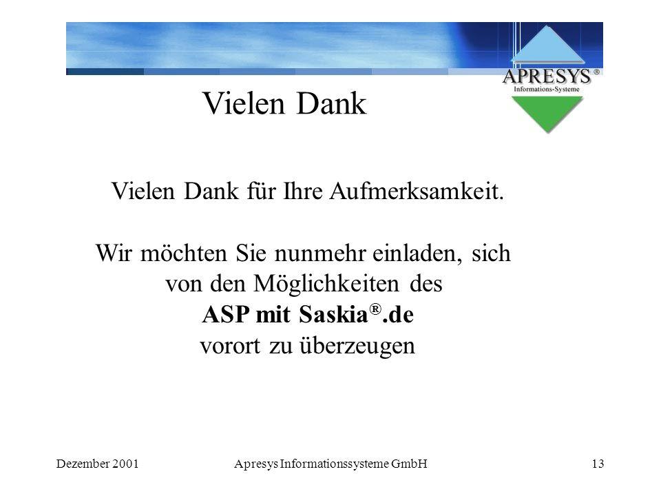 Dezember 2001Apresys Informationssysteme GmbH13 Vielen Dank Vielen Dank für Ihre Aufmerksamkeit. Wir möchten Sie nunmehr einladen, sich von den Möglic
