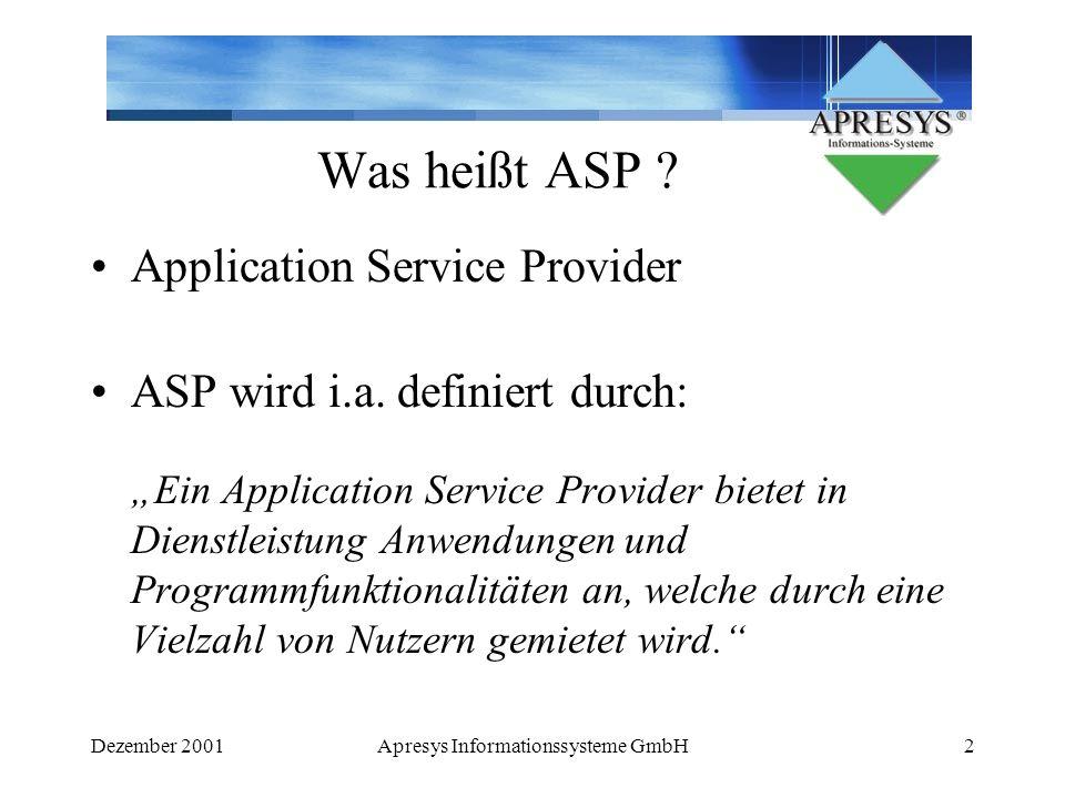 Dezember 2001Apresys Informationssysteme GmbH3 Vorteile Kosteneinsparung und - transparenz - kalkulierbare Kosten schnelle Einführung der Software Nutzung modernster Technologien und aktuellster Hardware Unabhängigkeit von kurzen Innovationszyklen
