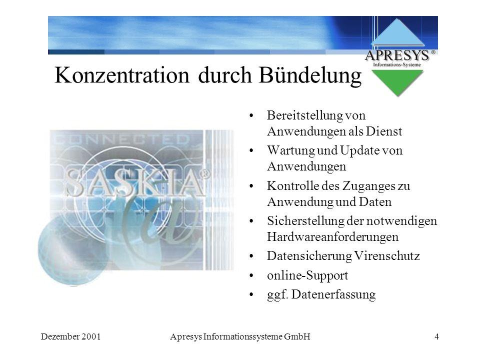 Dezember 2001Apresys Informationssysteme GmbH5 Nachteile keine 100% Verfügbarkeit (Service Level Agreement) geringe Bandbreiten stehen für die Nutzung zur Verfügung (ADSL noch nicht soweit verbreitet) Synchronistationsprobleme mit lokaler SW Individuelles Customizing nur eingeschränkt möglich längere Programmlaufzeiten (siehe Bandbreiten) noch geringes Angebot