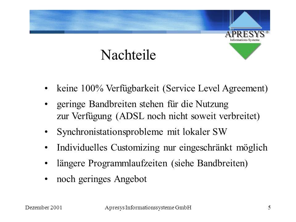 Dezember 2001Apresys Informationssysteme GmbH6 ASP - einzigster Dienstleister.