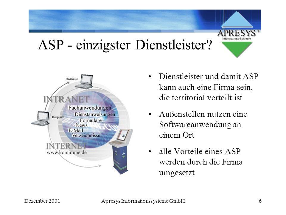 Dezember 2001Apresys Informationssysteme GmbH6 ASP - einzigster Dienstleister? Dienstleister und damit ASP kann auch eine Firma sein, die territorial