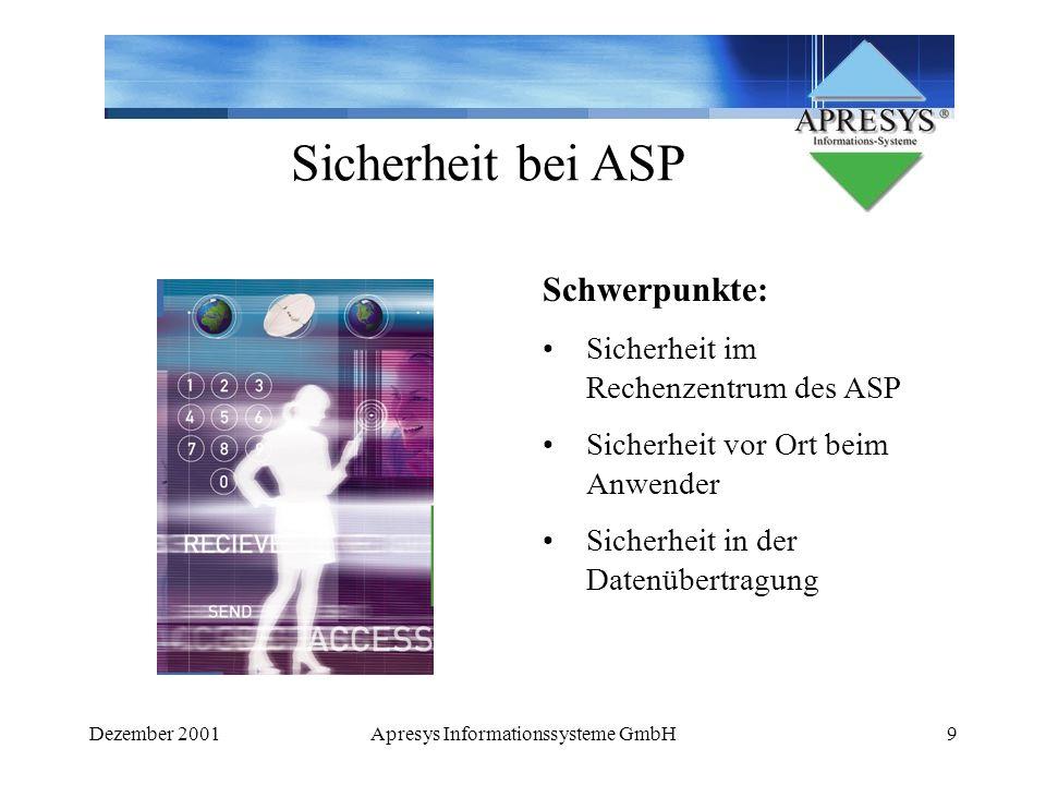 Dezember 2001Apresys Informationssysteme GmbH9 Sicherheit bei ASP Schwerpunkte: Sicherheit im Rechenzentrum des ASP Sicherheit vor Ort beim Anwender S
