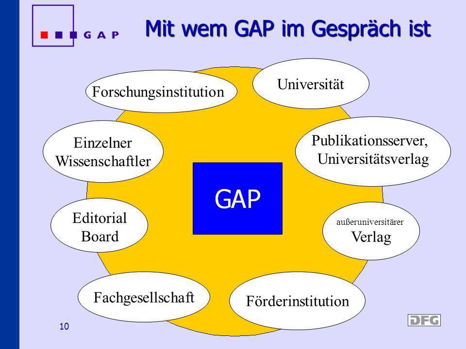 10 Mit wem GAP im Gespräch ist Universität Forschungsinstitution Einzelner Wissenschaftler außeruniversitärer Verlag Förderinstitution Fachgesellschaf