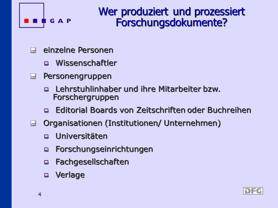 4 Wer produziert und prozessiert Forschungsdokumente? einzelne Personen einzelne Personen Wissenschaftler Wissenschaftler Personengruppen Personengrup