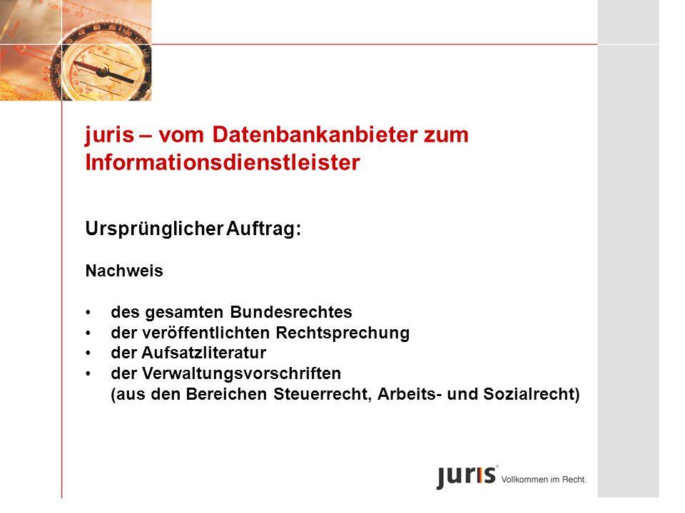 juris – vom Datenbankanbieter zum Informationsdienstleister Ursprünglicher Auftrag: Nachweis des gesamten Bundesrechtes der veröffentlichten Rechtspre