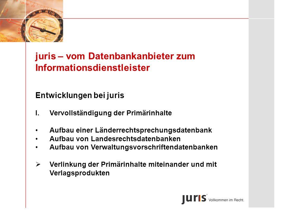 juris – vom Datenbankanbieter zum Informationsdienstleister Entwicklungen bei juris I.Vervollständigung der Primärinhalte Aufbau einer Länderrechtspre