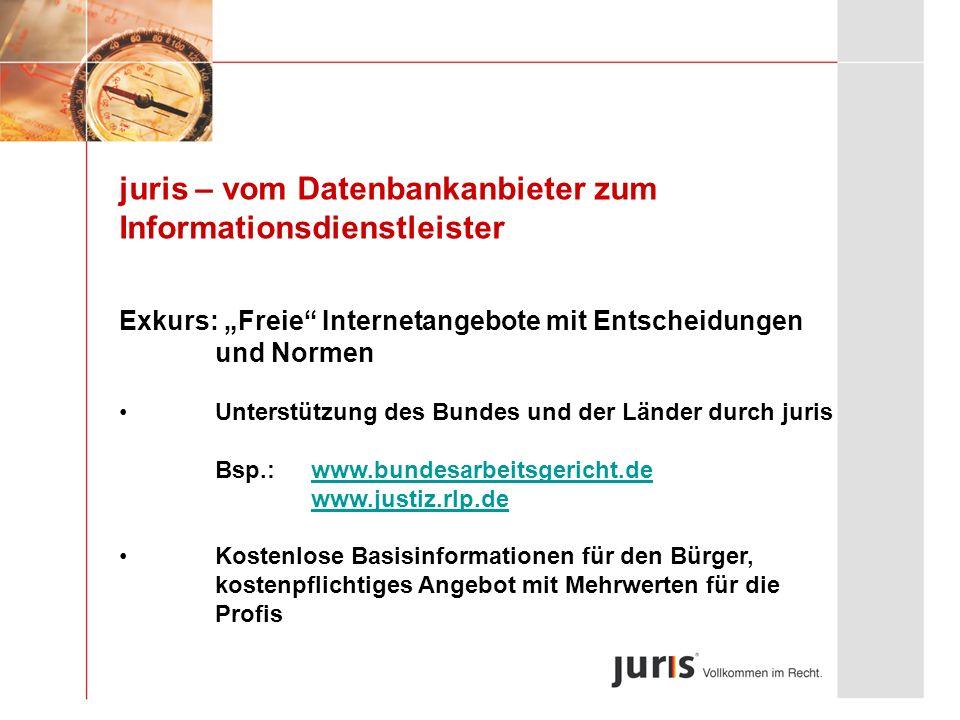 juris – vom Datenbankanbieter zum Informationsdienstleister Exkurs: Freie Internetangebote mit Entscheidungen und Normen Unterstützung des Bundes und