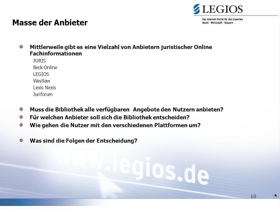 10 Masse der Anbieter Mittlerweile gibt es eine Vielzahl von Anbietern juristischer Online Fachinformationen JURIS Beck-Online LEGIOS Westlaw Lexis Nexis Juriforum Muss die Bibliothek alle verfügbaren Angebote den Nutzern anbieten.