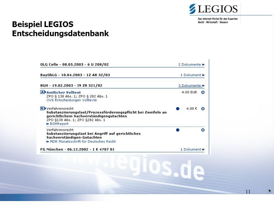 11 Beispiel LEGIOS Entscheidungsdatenbank