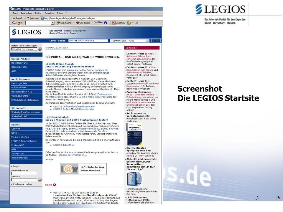3 Screenshot Die LEGIOS Startsite