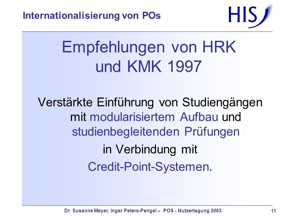 Dr. Susanne Meyer, Inger Peters-Pengel – POS - Nutzertagung 2003 11 Internationalisierung von POs Empfehlungen von HRK und KMK 1997 Verstärkte Einführ