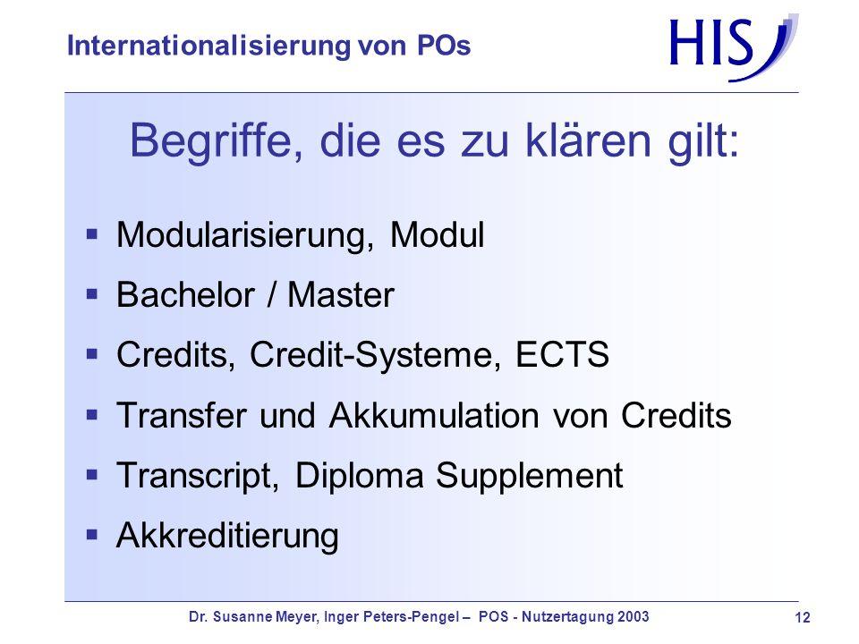 Dr. Susanne Meyer, Inger Peters-Pengel – POS - Nutzertagung 2003 12 Internationalisierung von POs Begriffe, die es zu klären gilt: Modularisierung, Mo