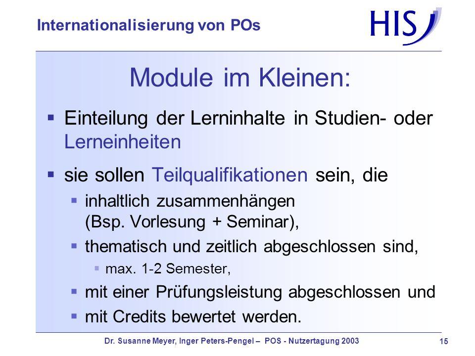 Dr. Susanne Meyer, Inger Peters-Pengel – POS - Nutzertagung 2003 15 Internationalisierung von POs Module im Kleinen: Einteilung der Lerninhalte in Stu