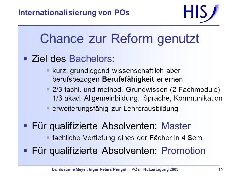 Dr. Susanne Meyer, Inger Peters-Pengel – POS - Nutzertagung 2003 19 Internationalisierung von POs Chance zur Reform genutzt Ziel des Bachelors: kurz,