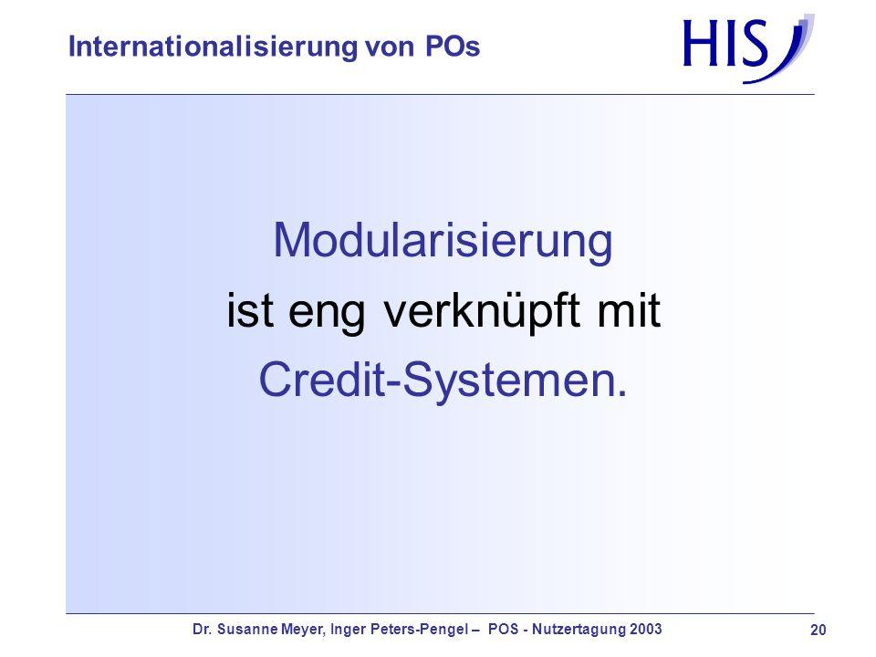 Dr. Susanne Meyer, Inger Peters-Pengel – POS - Nutzertagung 2003 20 Internationalisierung von POs Modularisierung ist eng verknüpft mit Credit-Systeme