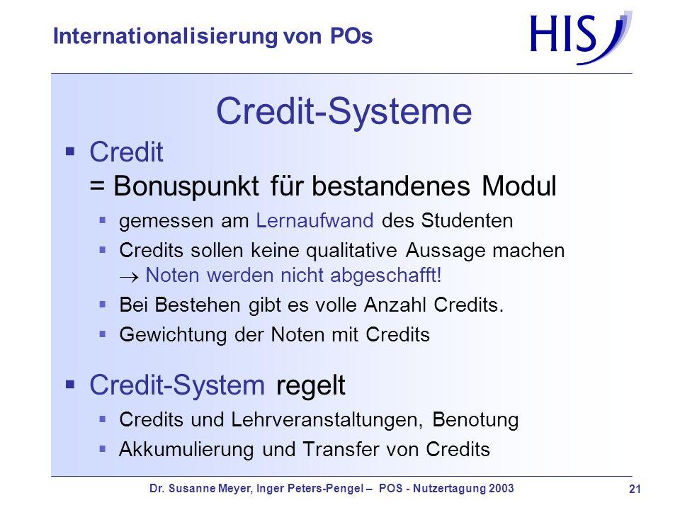 Dr. Susanne Meyer, Inger Peters-Pengel – POS - Nutzertagung 2003 21 Internationalisierung von POs Credit-Systeme Credit = Bonuspunkt für bestandenes M