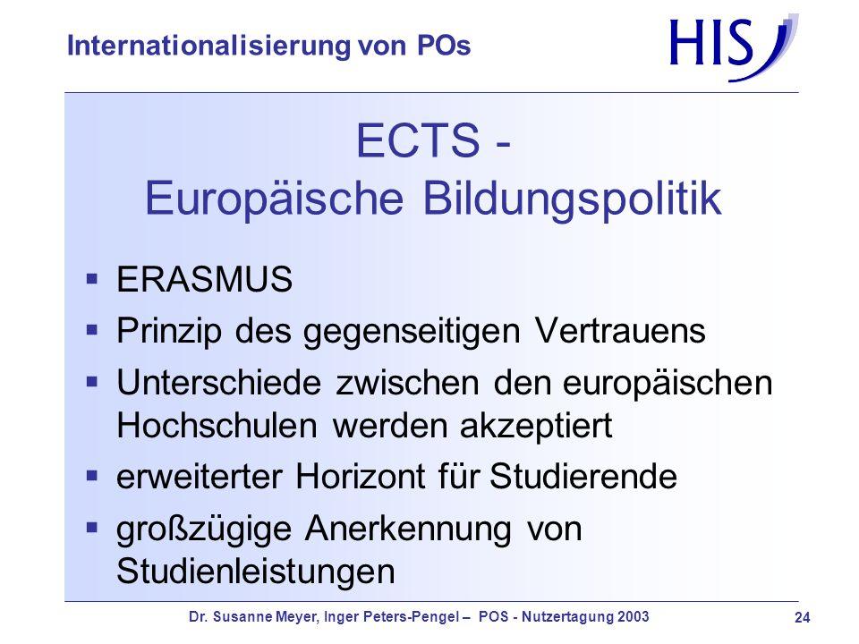 Dr. Susanne Meyer, Inger Peters-Pengel – POS - Nutzertagung 2003 24 Internationalisierung von POs ECTS - Europäische Bildungspolitik ERASMUS Prinzip d