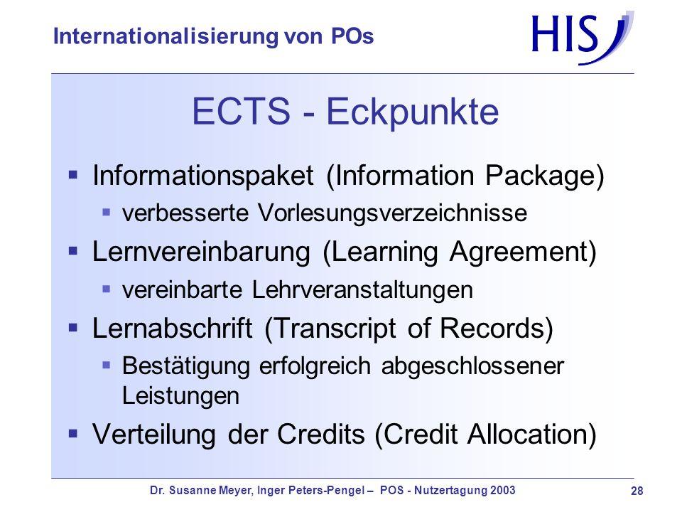 Dr. Susanne Meyer, Inger Peters-Pengel – POS - Nutzertagung 2003 28 Internationalisierung von POs ECTS - Eckpunkte Informationspaket (Information Pack